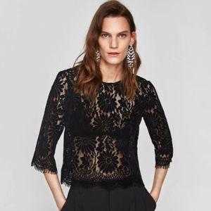 Zara Black Lace Top Blouse size M